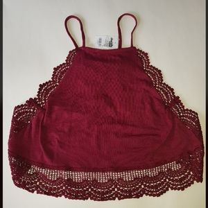 Charlotte Russe Lace Maroon Beach Crop Top Large
